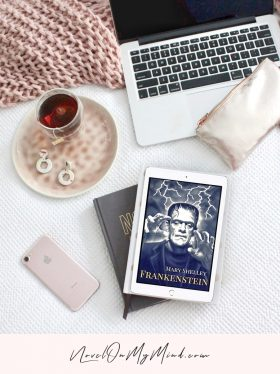 A tablet with an open image of the cover of Frankenstein by Mary Shelley