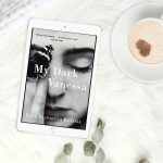A book cover for My Dark Vanessa by Kate Elizabeth Russell opened on a tablet device